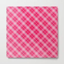 Rose Pink Valentine Sweetheart Tartan Plaid Check Metal Print