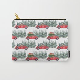 Corgis in car in winter forest Carry-All Pouch