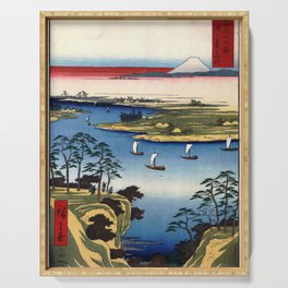 Hiroshige - 36 Views of Mount Fuji (1858) - 11: Wild Goose Hill and the Tone River Serving Tray