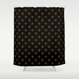 Foil Bees on Black Gold Metallic Faux Foil Photo-Effect Bees Shower Curtain