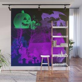 Eerie Halloween Graveyard, Grinning Skulls and Swooping Bats Wall Mural