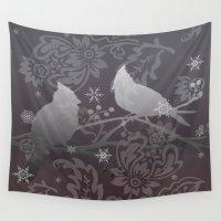 cardinal Wall Tapestries featuring midnite cardinal by Ariadne