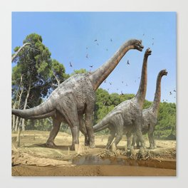 Dinosaurs walking on the river Canvas Print