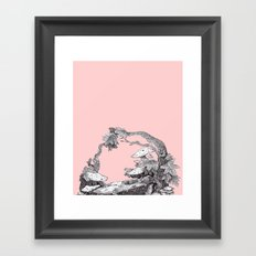 ink nature, on pink Framed Art Print