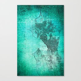 Turquoise Seattle Map Design Canvas Print