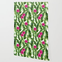 green banana palm leaves and pink flowers Wallpaper