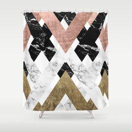 Modern geometric chevron black white marble rose gold foil gold triangles pattern Shower Curtain
