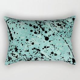 Modern abstract teal black watercolor paint splatters Rectangular Pillow