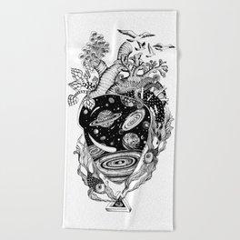 Cosmos Space Heart Beach Towel