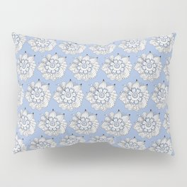 Background abstract white doodle-flowers, pattern, vector, texture design. Pillow Sham