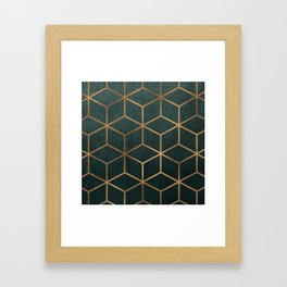 Dark Teal and Gold - Geometric Textured Gradient Cube Design Framed Art Print