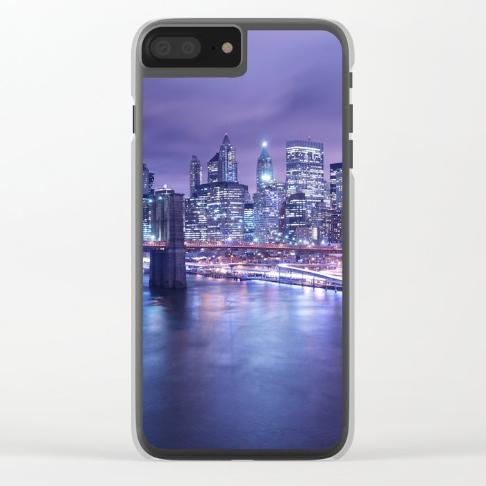 New York City Night Lights : Periwinkle Blue Clear iPhone Case
