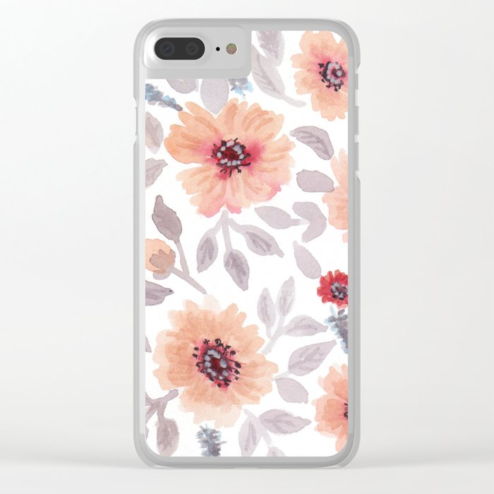 Watercolor . Salmon flowers . Clear iPhone Case