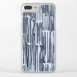 Simply Bamboo Brushstroke Indigo Blue on Sky Blue Clear iPhone Case