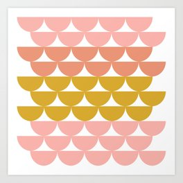 Pretty Geometric Bowls Pattern in Coral and Mustard Art Print