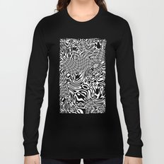 Black and white psychedelic optical illusion Long Sleeve T-shirt