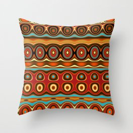 Copper, Orange, Aqua, and Red Pattern Throw Pillow