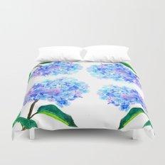 blue purple hydrangea Duvet Cover