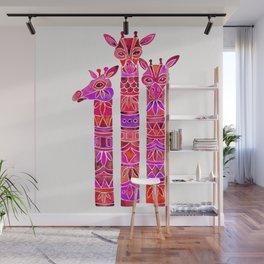 Giraffes – Magenta Ombré Wall Mural