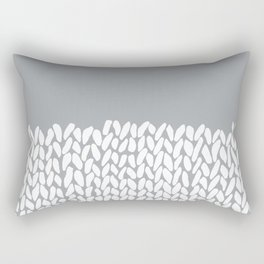 Half Knit Grey Rectangular Pillow
