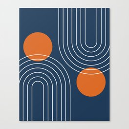 Mid Century Modern Geometric 83 in Navy Blue and Burnt Orange (Rainbow and Sun Abstraction) Canvas Print
