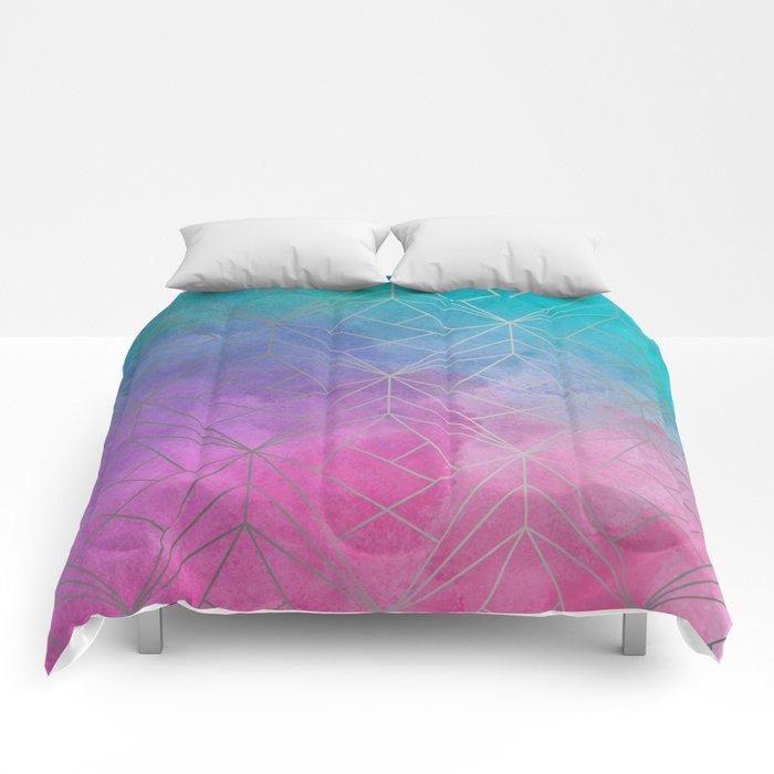 Watercolor Geometric Silver Pattern Art Comforters