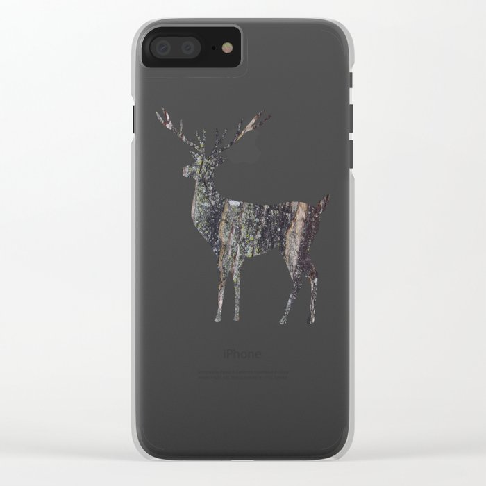 deer silhouette stag black bark with lichen Clear iPhone Case