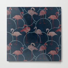 Walk with pink flamingos /indigo/ Metal Print