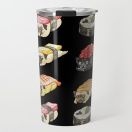 Sushi Pug Watercolor Travel Mug