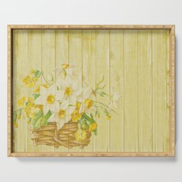 Daffodil Flowers in Basket on Wood Background Serving Tray