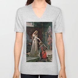 Edmund Blair Leighton - Accolade - Edmund Blair Leighton Unisex V-Neck