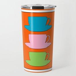 Retro Coffee Print - Retro Colors on Burnished Orange Background Travel Mug