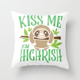 Sloth Weed Cannabis St. Patrick's Day Gift Throw Pillow