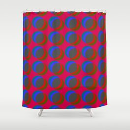 B.L.I.N.K. - optical illusion in red and blue Shower Curtain