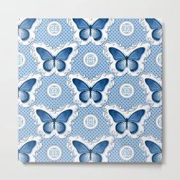 Chinoiseries Porcelain Butterfly Blue Metal Print