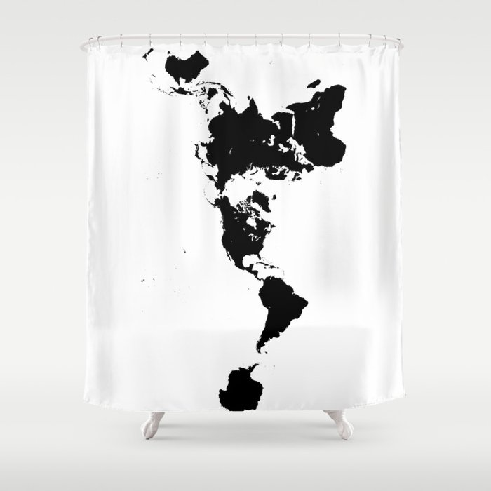 Dymaxion world map fuller projection map minimalist black on dymaxion world map fuller projection map minimalist black on white shower curtain gumiabroncs Gallery