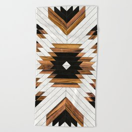 Urban Tribal Pattern 5 - Aztec - Concrete and Wood Beach Towel