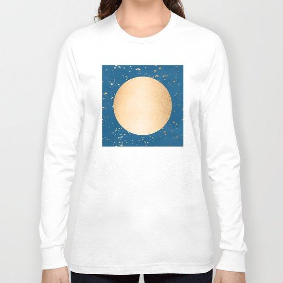 Paint Spatter Sun - Orange Sherbet Shimmer on Saltwater Taffy Teal Long Sleeve T-shirt