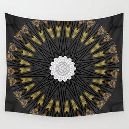 Dark Black Gold & White Marble Mandala Wall Tapestry