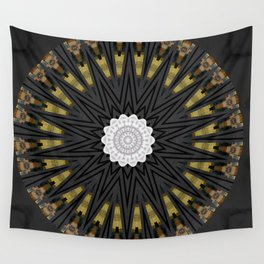 Dark Black Gold & White Marble Mandala Wall Tapestry