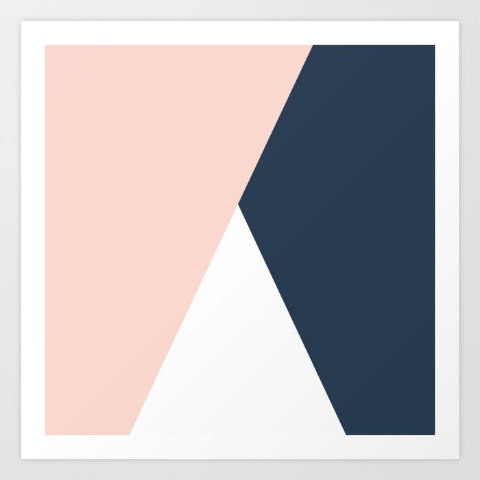 Elegant blush pink & navy blue geometric triangles Kunstdrucke