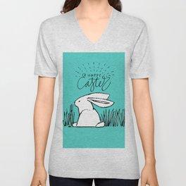 Happy Easter White Bunny Rabbit in Grass on Teal Unisex V-Neck