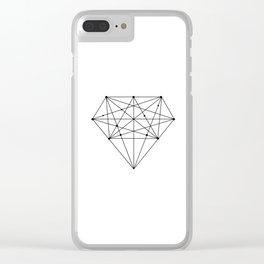 Geometric Diamond black-white poster design lowpoly fashion home decor canvas wall art Clear iPhone Case
