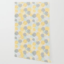 Floral Pattern, Yellow, Pale, Aqua, Blue and Gray Wallpaper