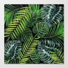 Jungle Tangle Green On Black Canvas Print
