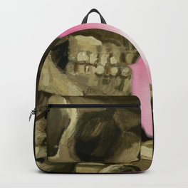 Van Gogh Bubble Gum Head of a skeleton with a burning cigarette portrait painting Backpack