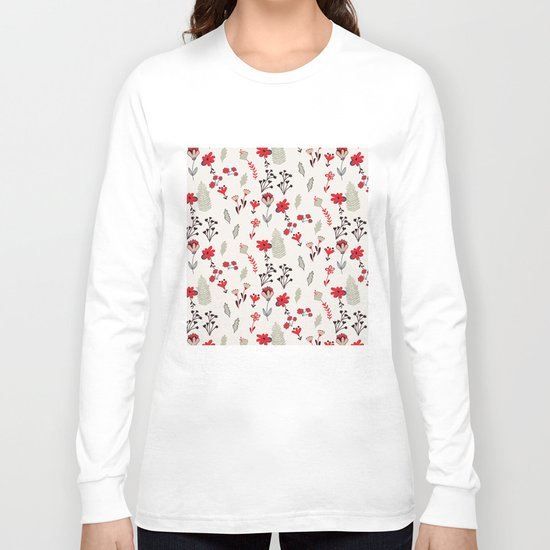 Red Vintage Floral Pattern Long Sleeve T-shirt