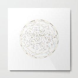 Star Chart of the Northern Hemisphere White Metal Print