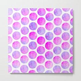 Modern hot pink lavender faux glitter polka dots pattern Metal Print