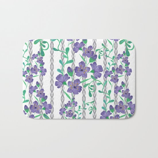 Flowers on a striped background. Bath Mat